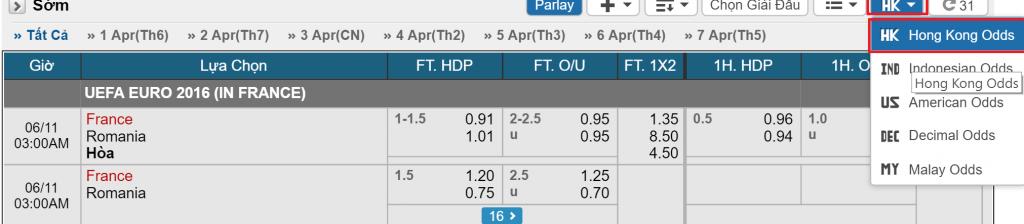 Odds Hong Kong trong cá độ bóng đá  Phân biệt các tỷ lệ Odds phổ biến: Malay, Hong Kong, châu Âu odds hong kong